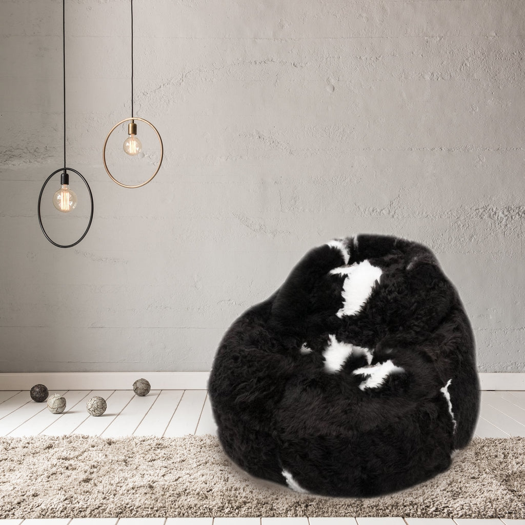 Sheepskin Beanbag Chair Icelandic Shorn Black with White Spots Sheepskin Bean Bag - Wildash London