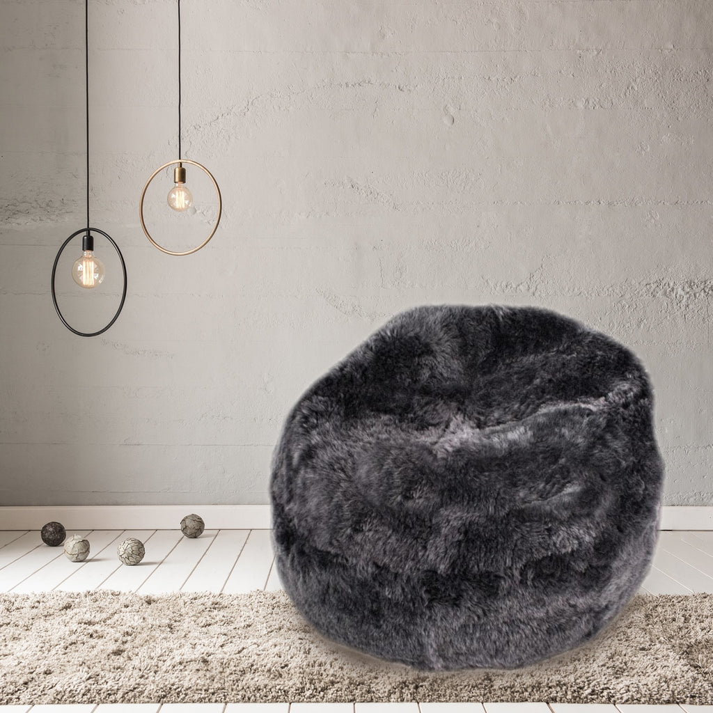 Sheepskin Beanbag Chair Icelandic Shorn Graphite Sheepskin Bean Bag, Sheep Skin Grey - Wildash London