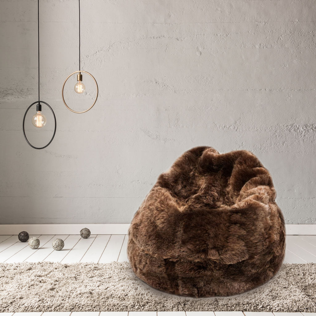 Sheepskin Beanbag Chair Icelandic Shorn Russet Sheepskin Bean Bag - Wildash London