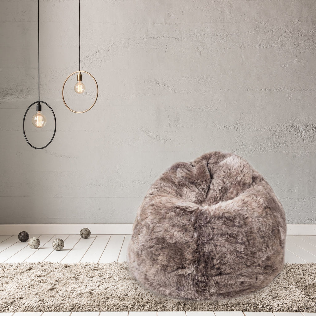 Sheepskin Beanbag Chair Icelandic Shorn Taupe Sheepskin Bean Bag, Sheep Skin - Wildash London