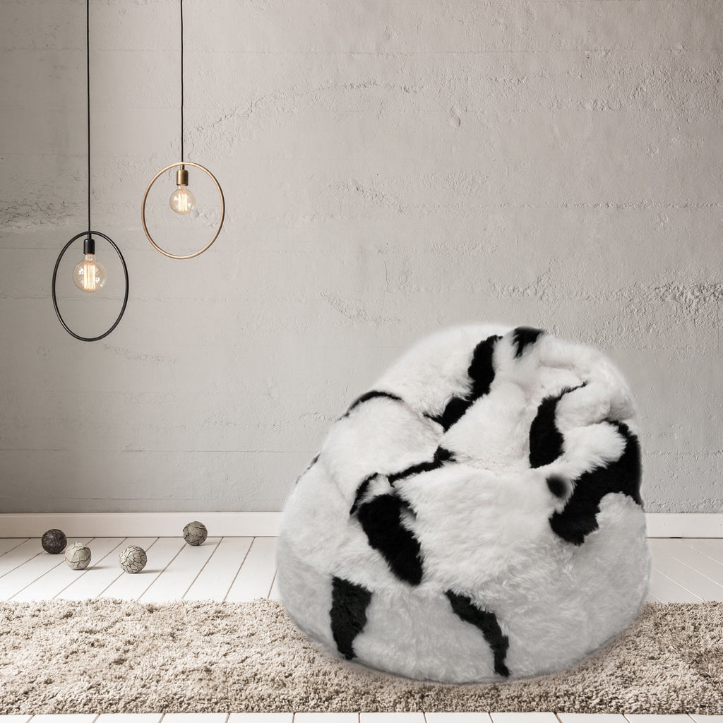 Sheepskin Beanbag Chair Icelandic Shorn White with Black Spot Undyed Sheepskin Bean Bag, Sheep Skin - Wildash London