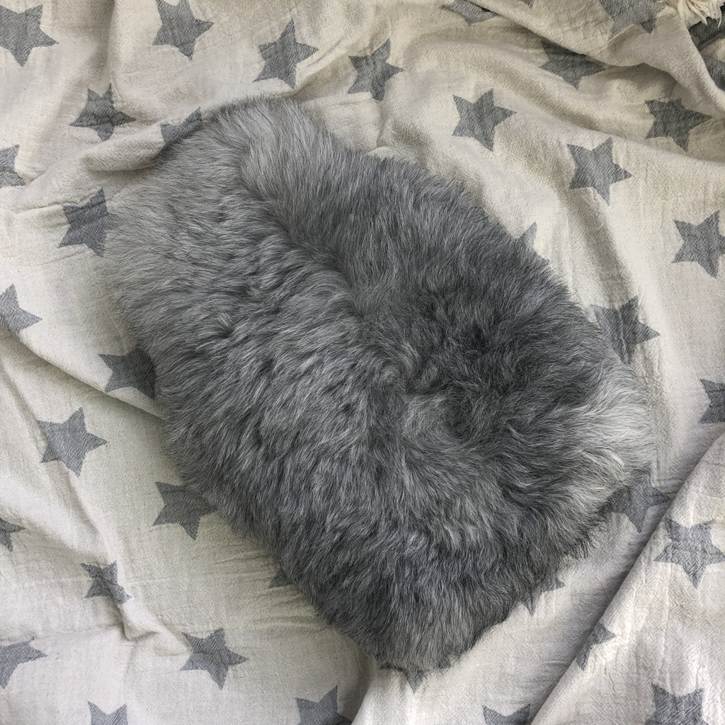 Sheepskin Hot Water Bottle, Hottie, Icelandic Natural Grey Fur, Christmas Gift for Her, for Him, Hygge, Sheep Skin, Home Decor, Luxury - Wildash London