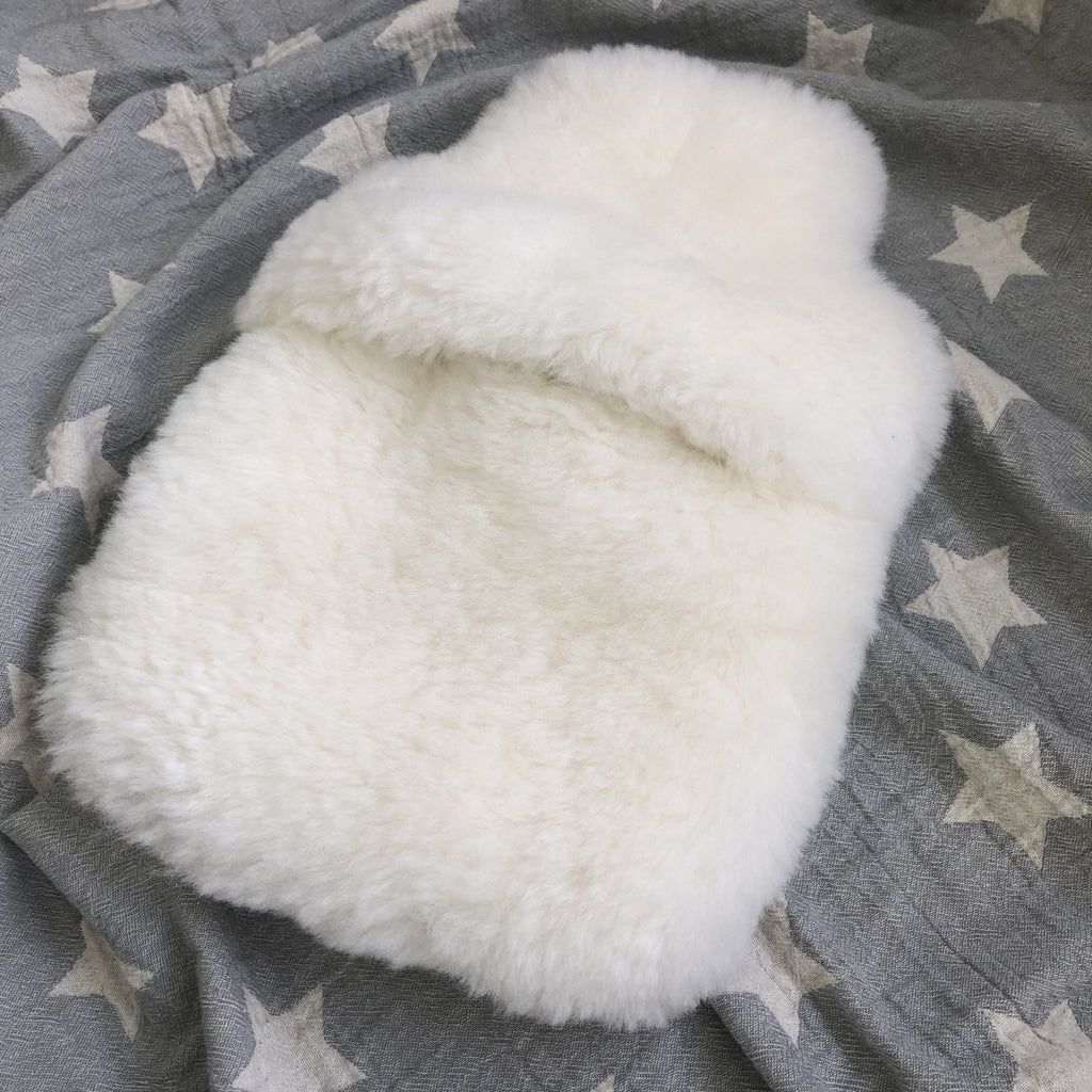 Sheepskin Hot Water Bottle, Hottie, Icelandic Natural White Fur, Christmas Gift for Her, for Him, Hygge, Sheep Skin, Home Decor, Luxury - Wildash London