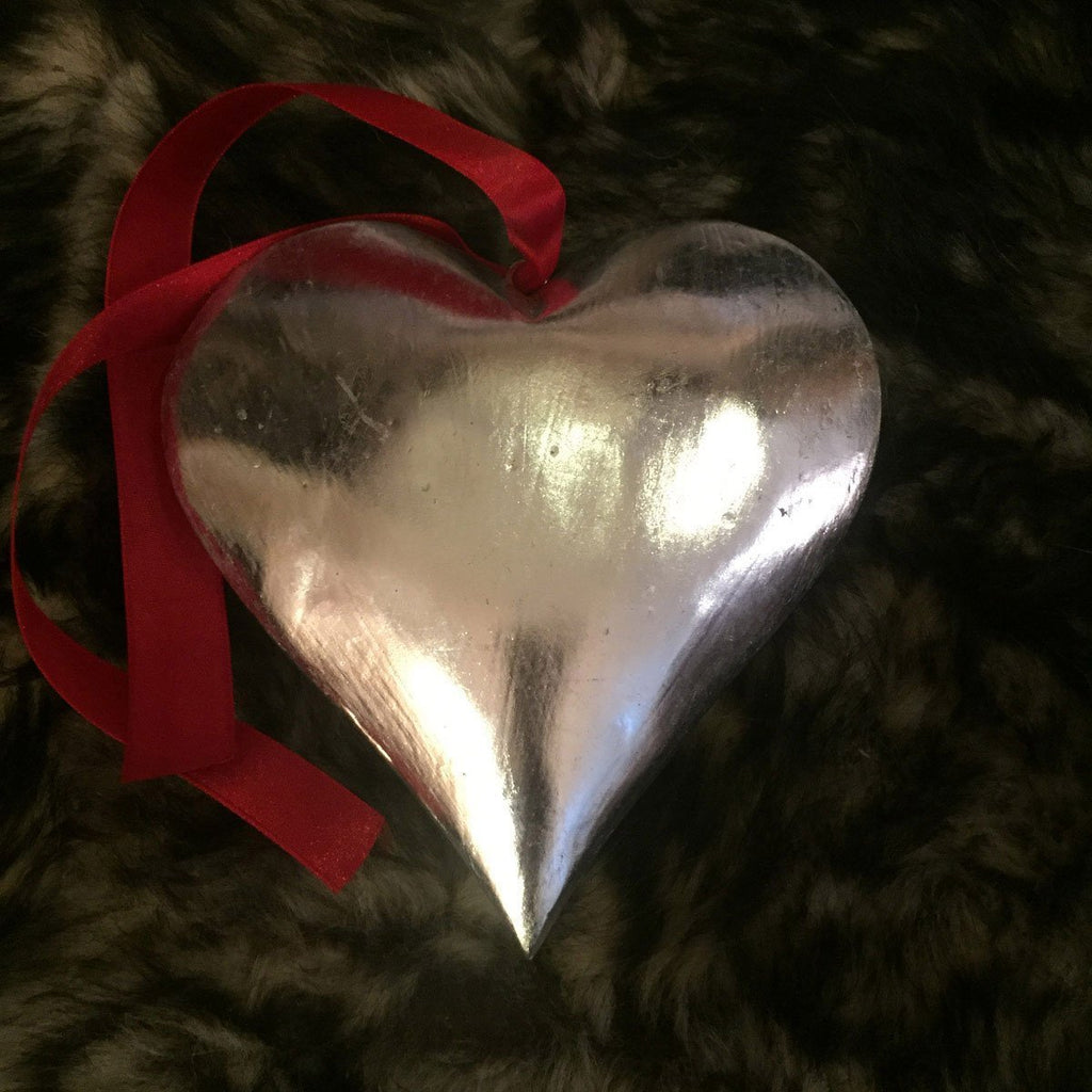 Silver Wooden Heart on Ribbon 8cm - Wildash London