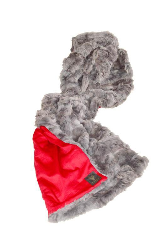 Small Shearling Grey & Cherry Red Baby Cord 110x200cm - Wildash London