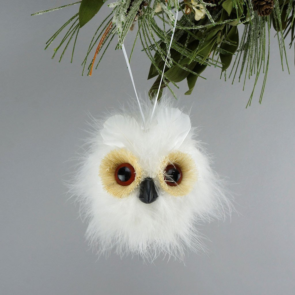 Snowy Feather Owl Ball Ornament - Wildash London