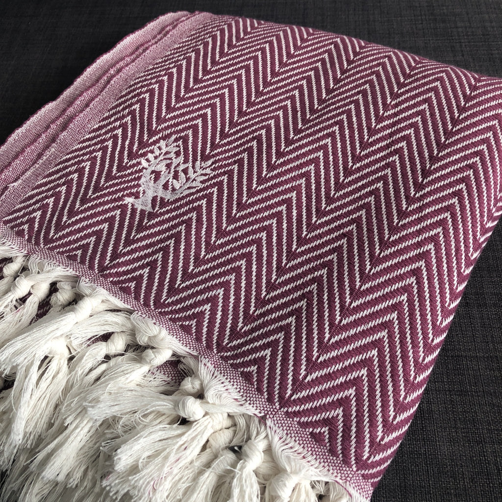 Sonata Organic Cotton Handwoven Throw - Dewberry - Wildash London