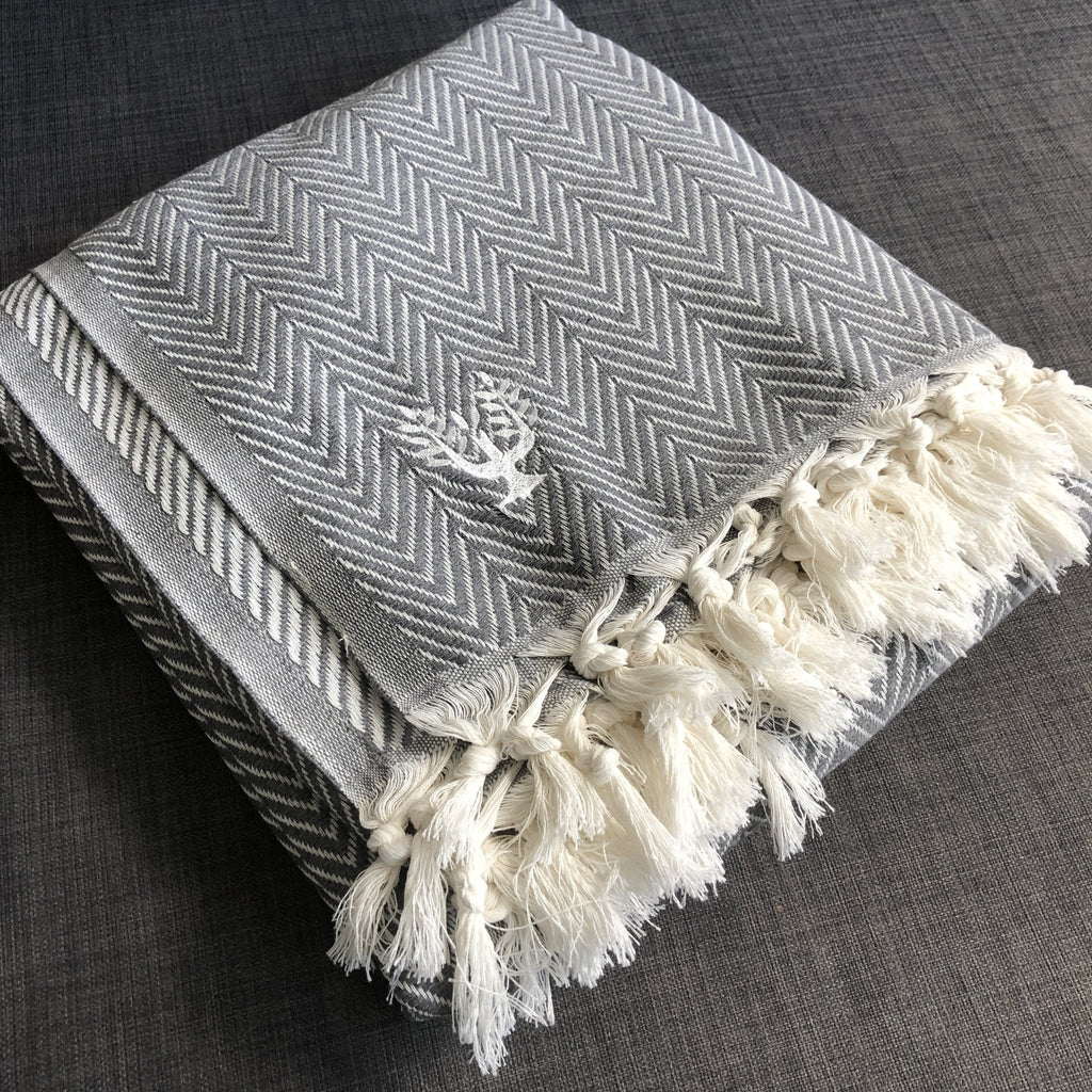 Sonata Organic Cotton Handwoven Throw - Smoke Grey - Wildash London