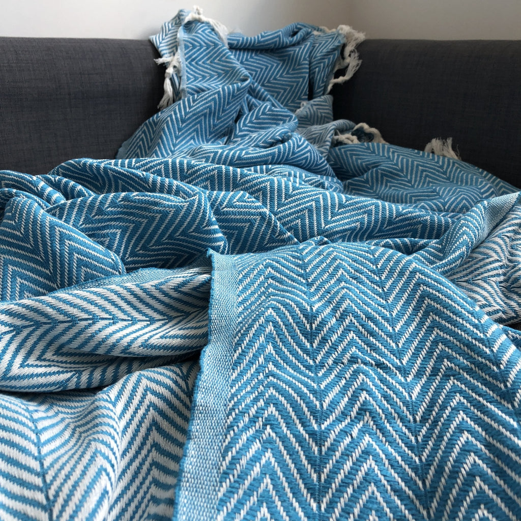Sonata Organic Cotton Handwoven Throw - Teal - Wildash London