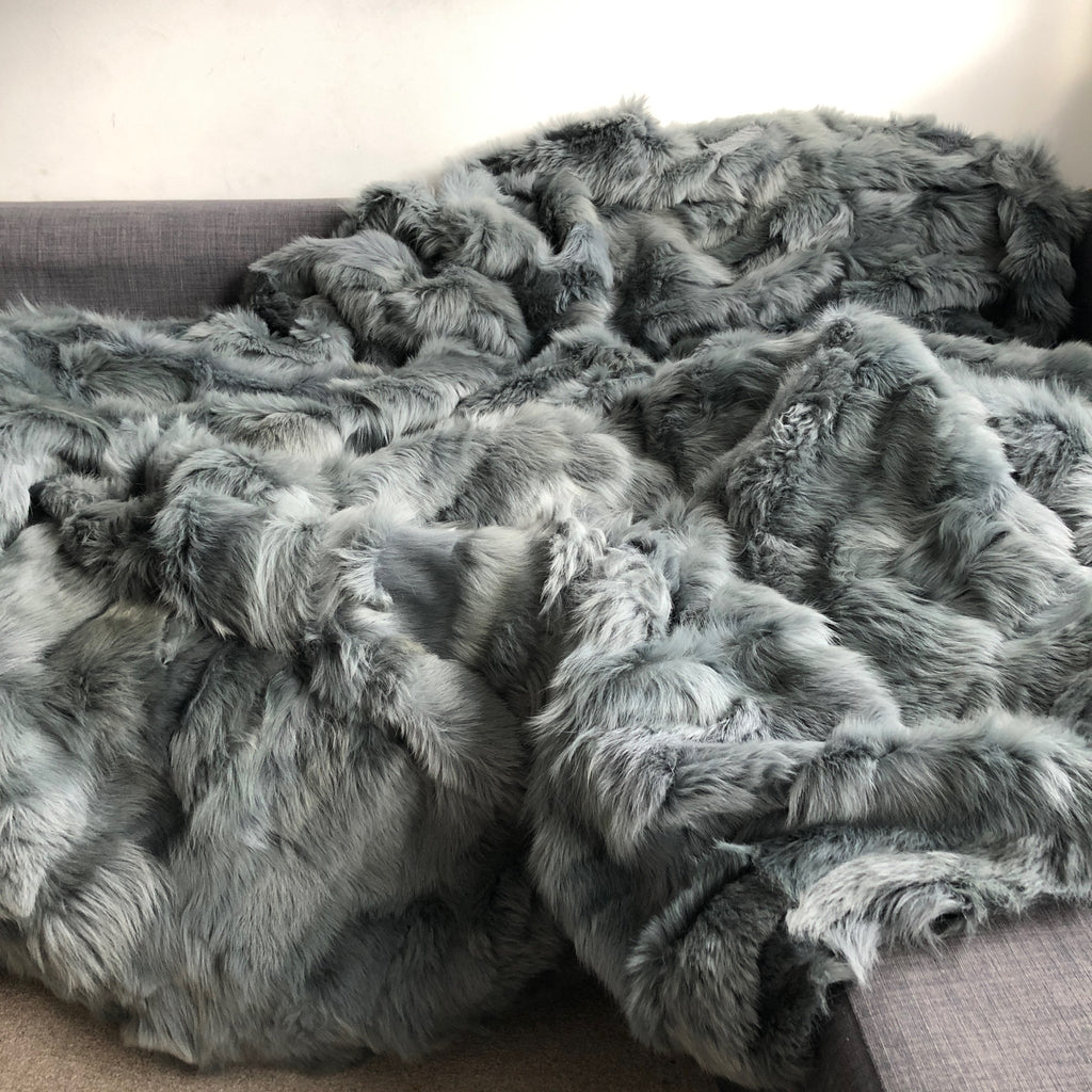 Spanish Moss Grey-Green Tuscan Shearling Throw | Rug | Wildash London - Wildash London