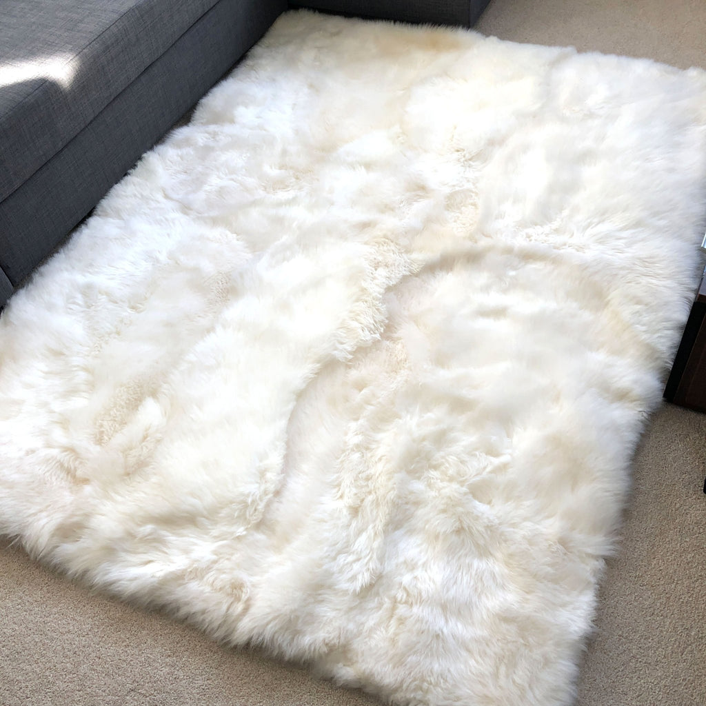 Stunning Soft British Sheepskin Rug Ivory Cream White Straight Edges Rectangular ALL SIZES AVAILABLE - Wildash London