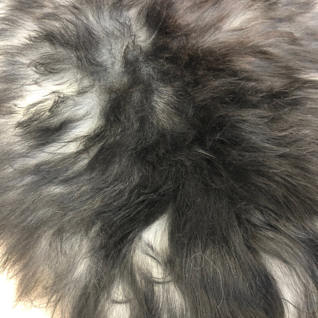 STUNNING XL Icelandic Natural Dark Grey Ombré Undyed Longhair Sheepskin Unique Sheep Skin Ecofriendly Sustainably Tanned UN-2002 - Wildash London