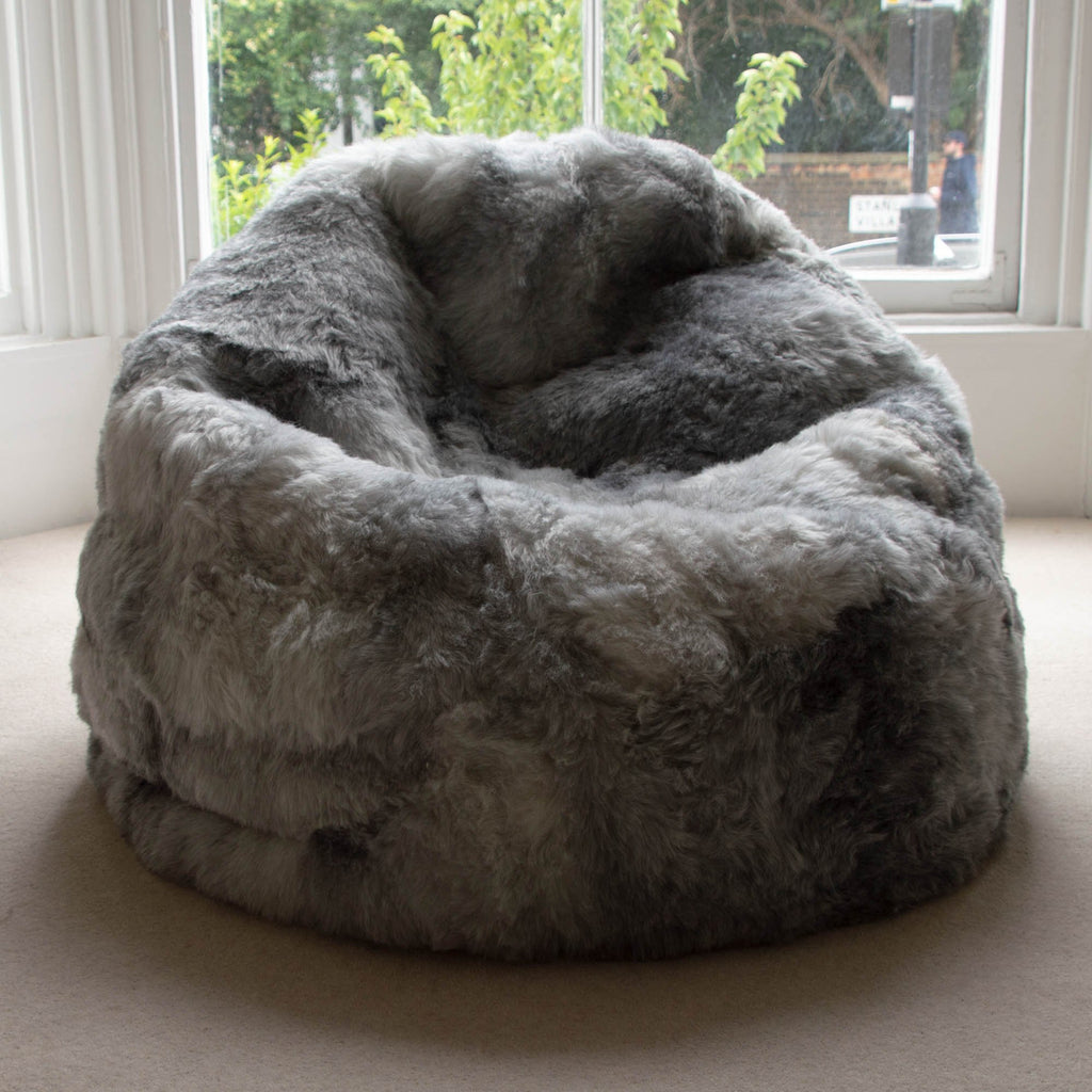 Teardrop Sheepskin Beanbag Chair 100% Natural Grey Icelandic Shorn 50mm Bean Bag - Large - Wildash London