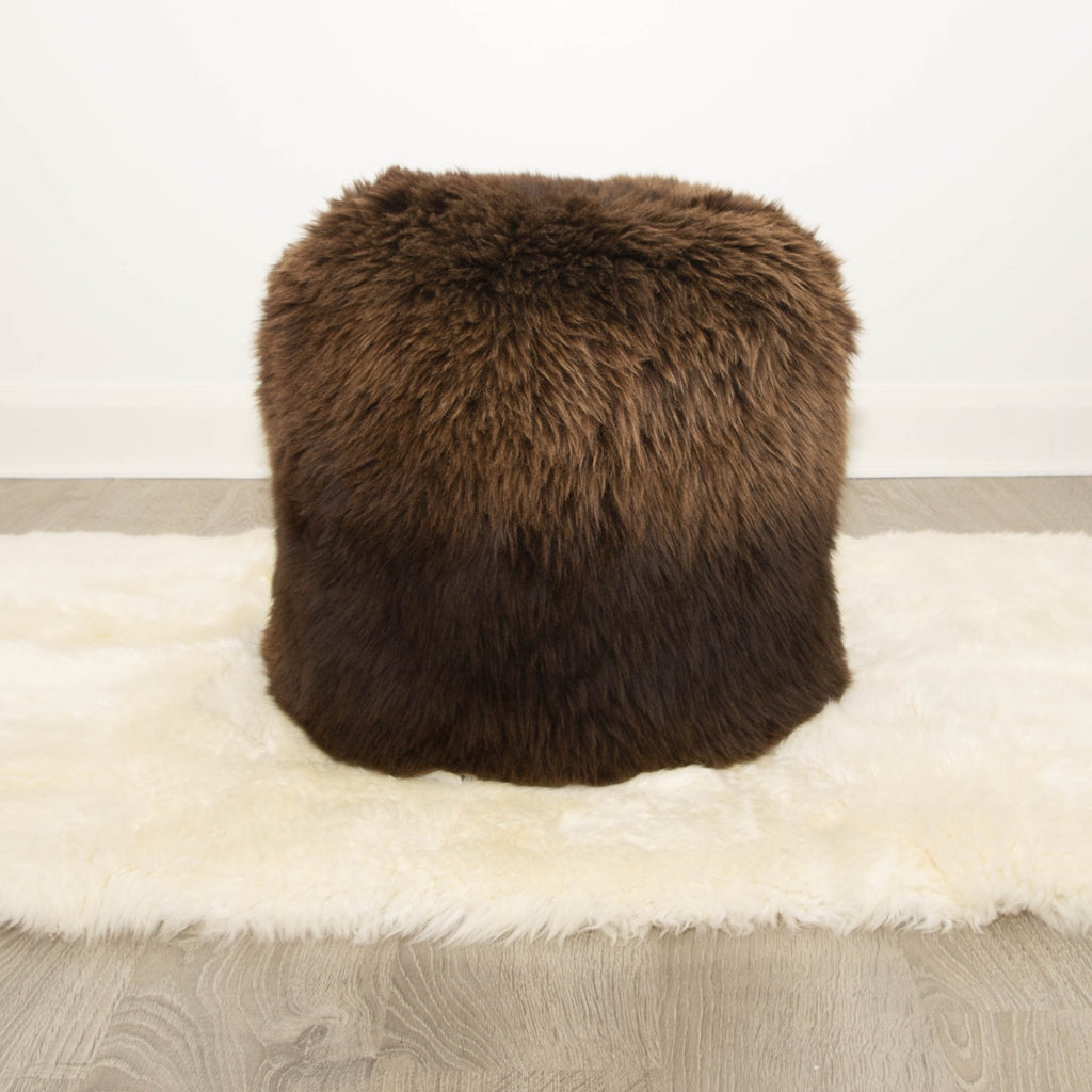 The Boudoir Sheepskin Pouffe - Natural British Brown - Wildash London