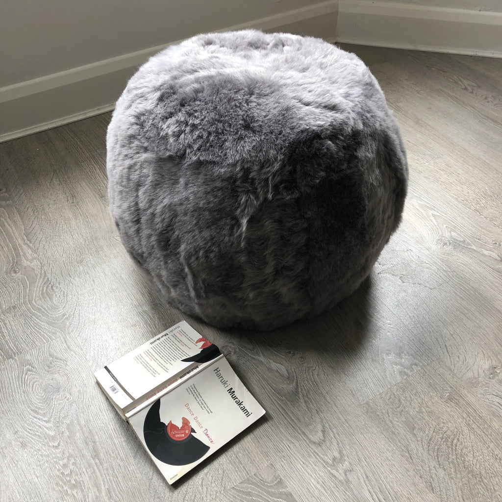 The Boule Icelandic Sheepskin Pouffe - Cool Grey Shorn - Wildash London