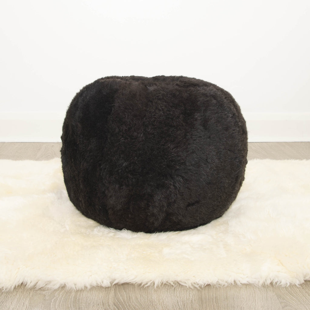 The Boule Icelandic Sheepskin Pouffe - Natural Charcoal Black Shorn - Wildash London