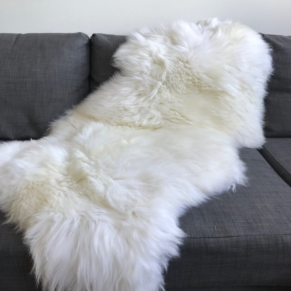 Top Quality XL British White Sheepskin Rug 100% Natural Free-range 120cm - Wildash London