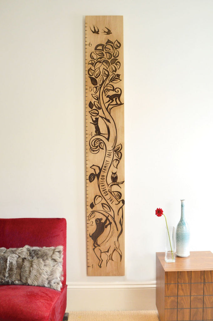Tree of Life Solid Oak Engraved Personalised Height Chart - Wildash London