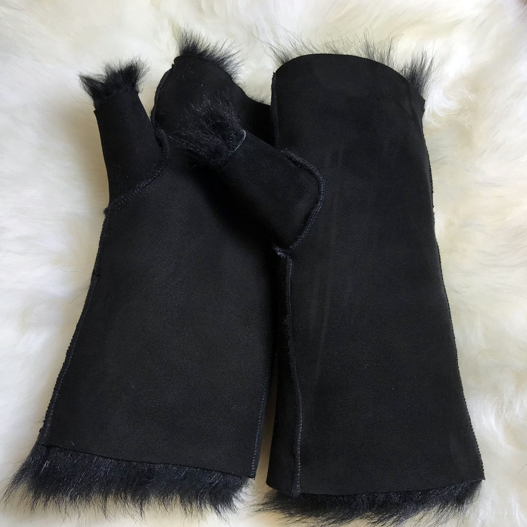 Tuscan Shearling Fingerless Reversible Sheepskin Gloves - Black - Wildash London