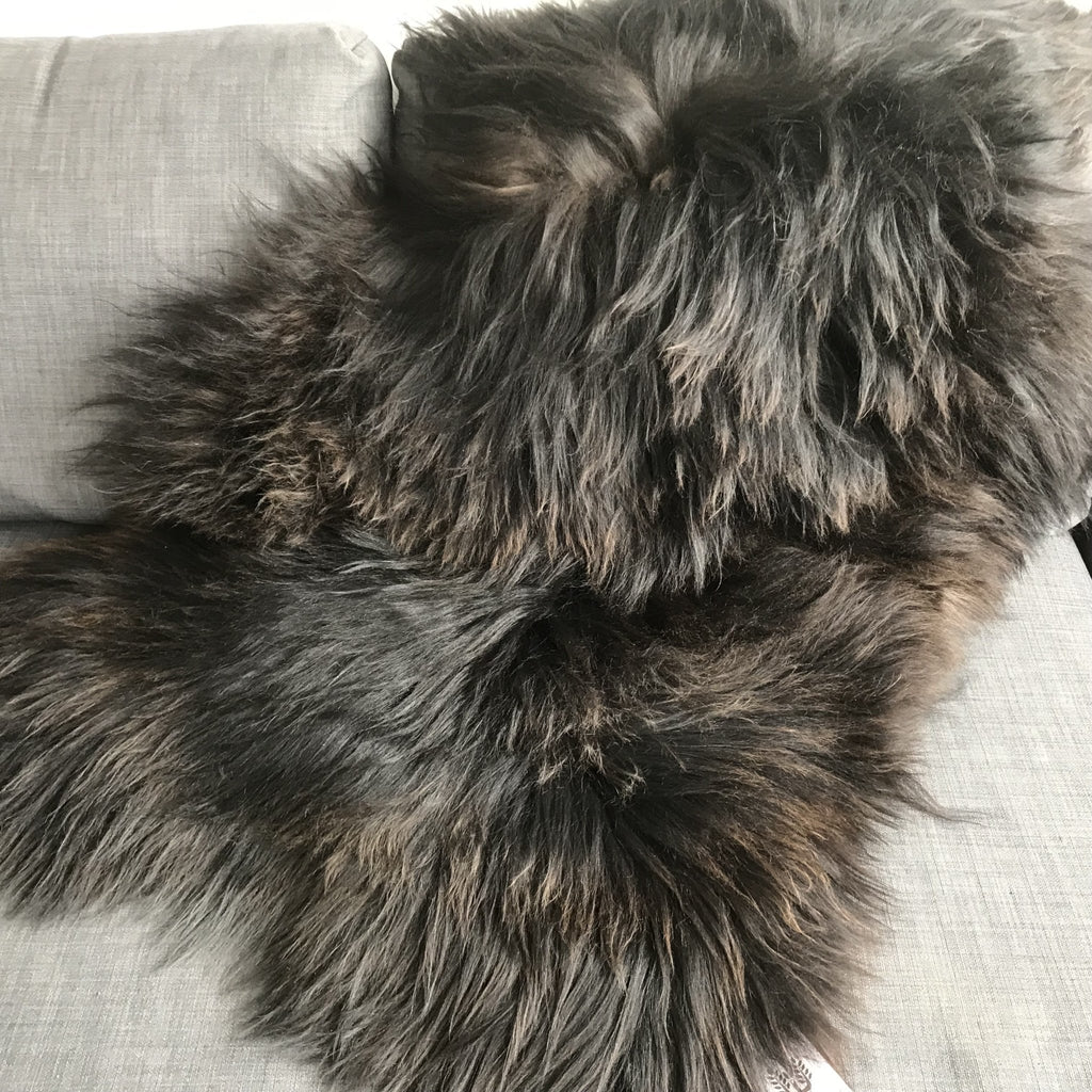 X-Large Icelandic Natural Black Brown Espresso Eco Sheepskin Rug 100% 120cm UK - Wildash London