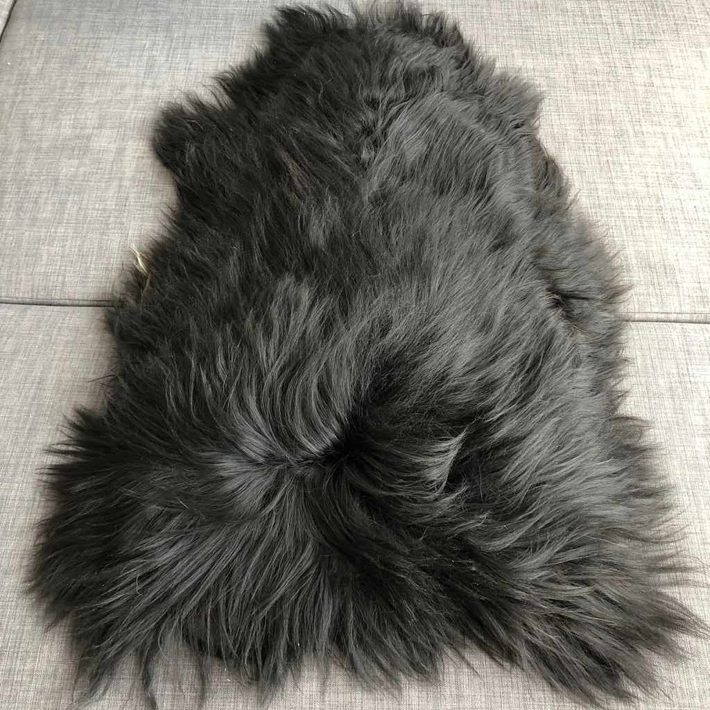 X-Large Icelandic Natural Black Eco Sheepskin Rug 100% 120cm UK - Wildash London