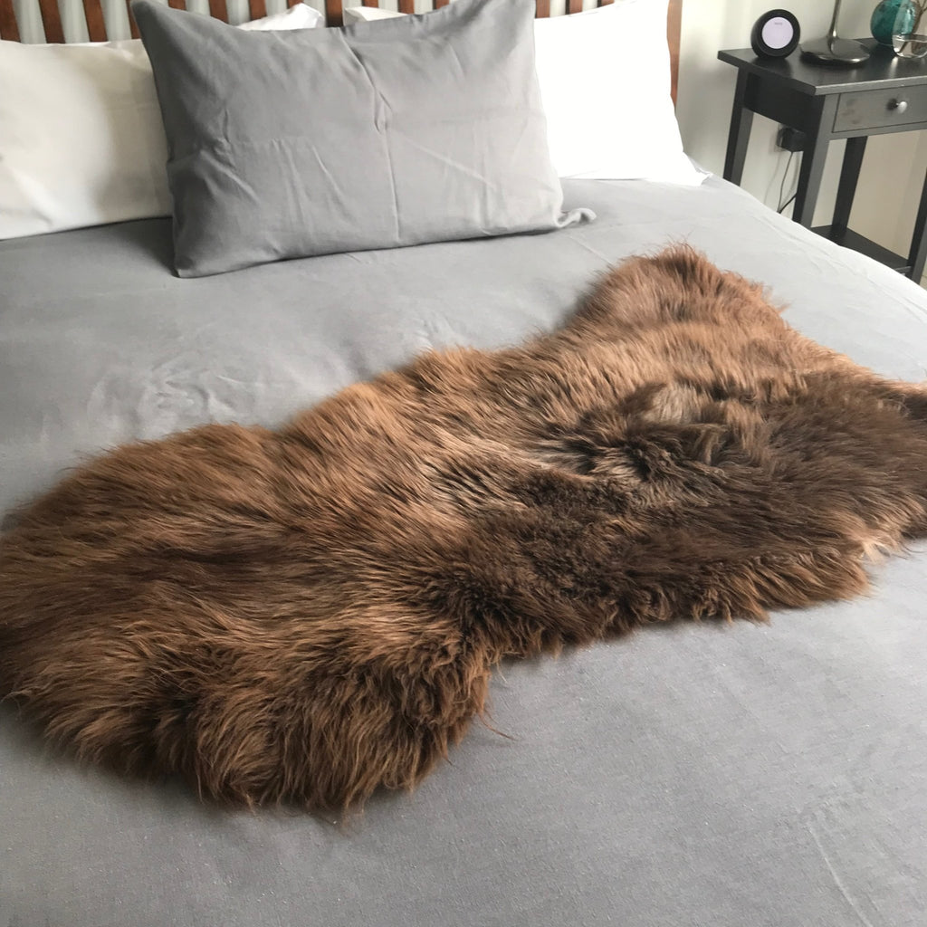XL Extra-Large Natural British Brown Sheepskin Rug Sheep Skin Throw English Hygge Nordic Decor - Wildash London