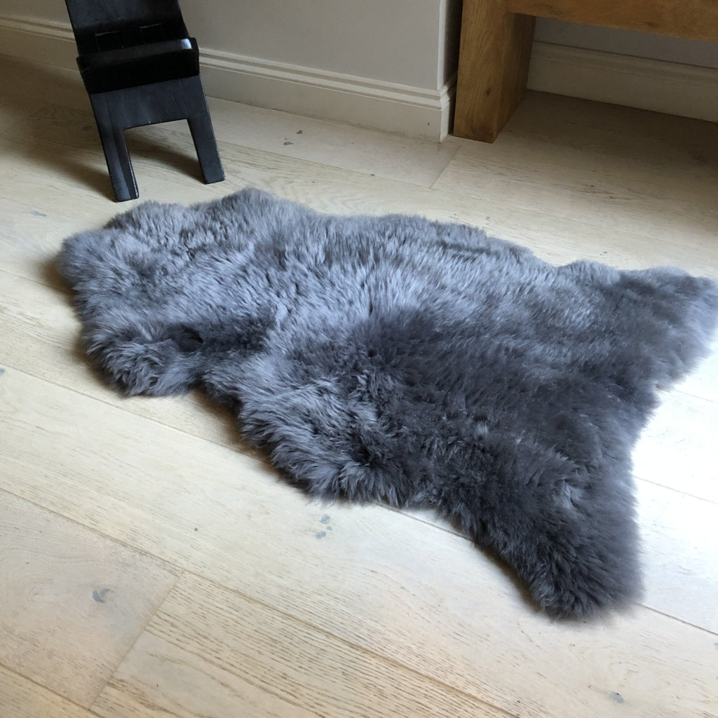 XL Extra-Large Top Quality British Slate Grey Sheepskin Rug Sheep Skin Throw 100% Natural English Free-range UK Hygge Nordic Decor - Wildash London