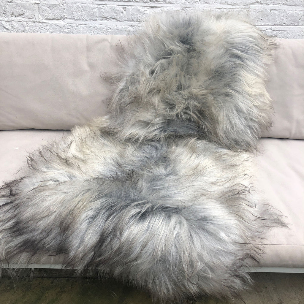 XL Icelandic Natural Grey Undyed Sheepskin Unique Sheep Skin Ecofriendly Sustainably Tanned 2503ILXL-03 - Wildash London