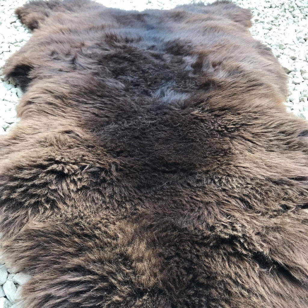 XL Natural Sheepskin Rug Chocolate Brown 115cm 0106 - Wildash London