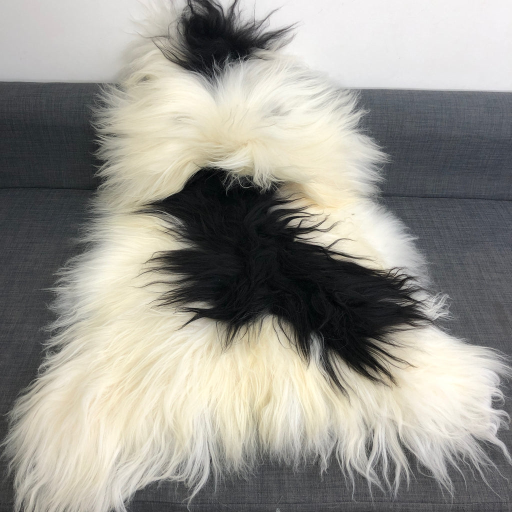 XL Yin & Yang Icelandic Sheepskin Throw White with Black Spots Rug Eco Fleece 100% Natural Undyed Hygge 0216ILXL05 - Wildash London