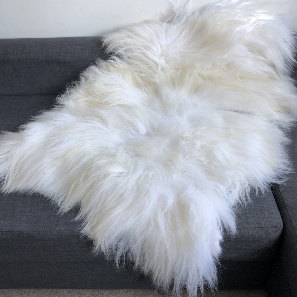 XXL XX-Large Icelandic White Long Fur Sheepskin Rug 100% Natural Sheep Skin Throw 120-130cm - Wildash London