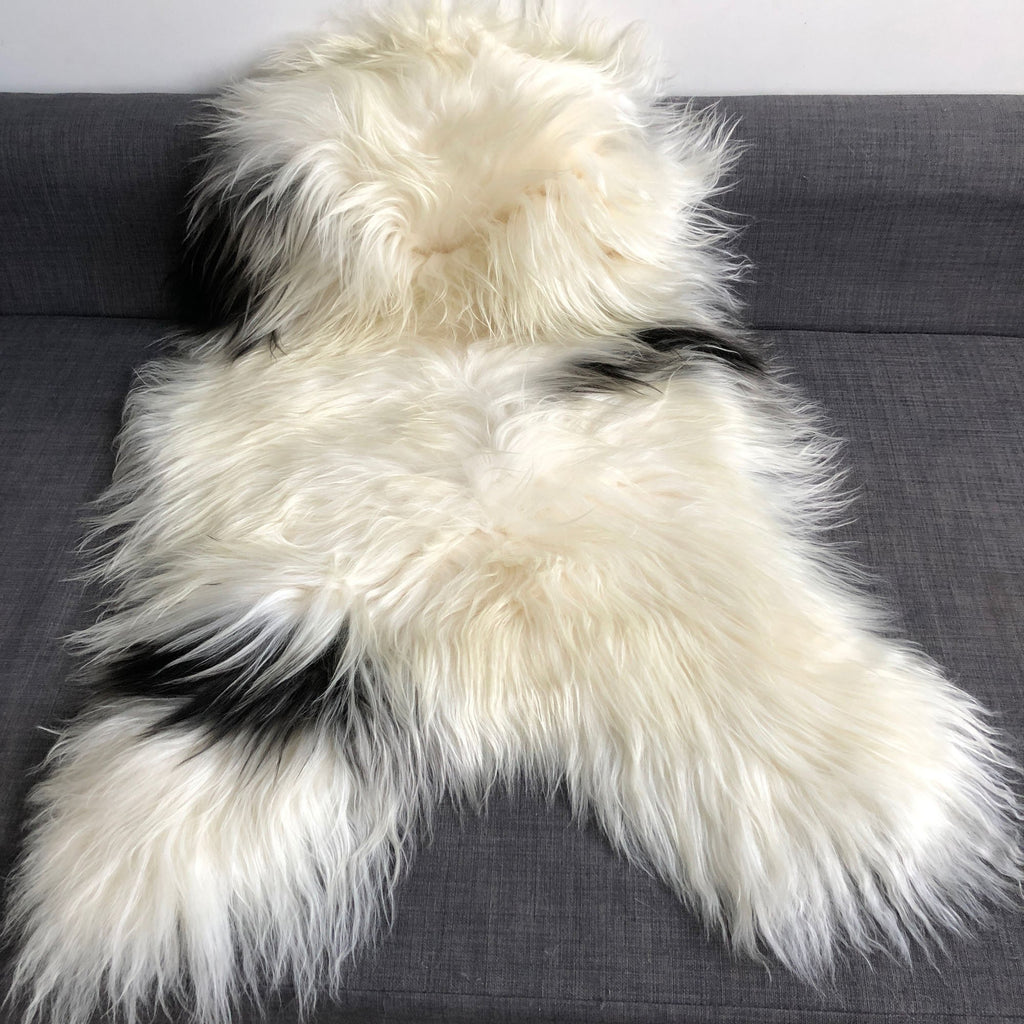Yin & Yang Icelandic Sheepskin Throw White with Black Spots Rug Eco Fleece 100% Natural Undyed Hygge 1604ILSPL-12 - Wildash London