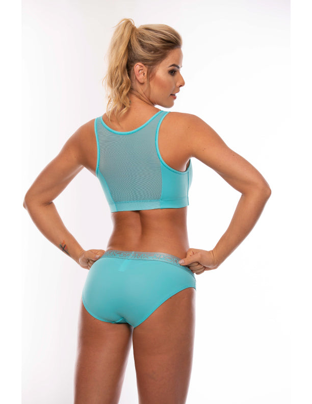 Top deportivo con mesh decorativo