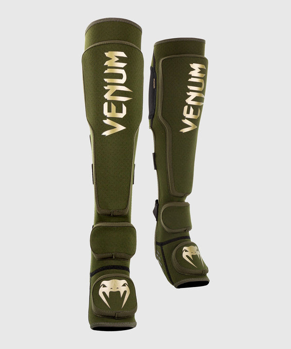 Venum Kontact Evo Slip On Shin Guards - Khaki/Gold