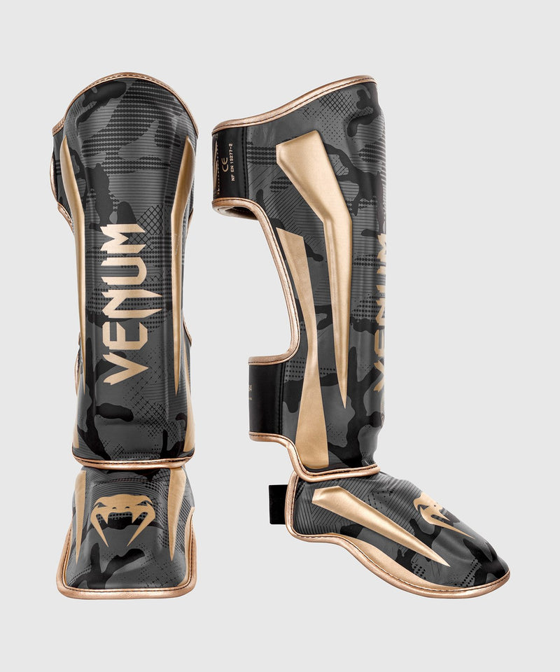 Venum Elite Shin Guards - Dark Camo/Gold