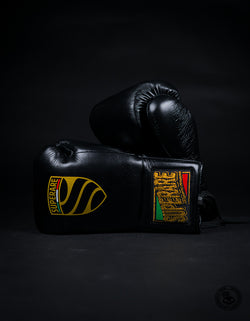 Superare S458 Lace Up Pro Fight Gloves - Black (HORSE HAIR)
