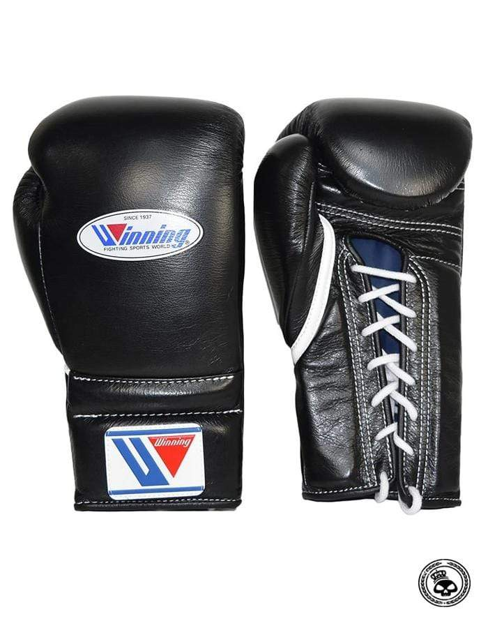 Winning Lace Up Gloves - Black