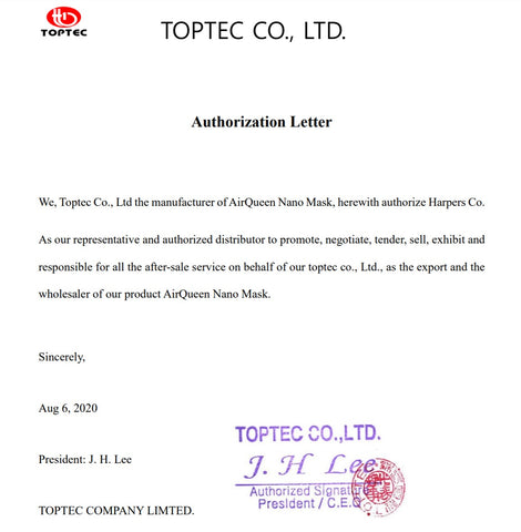 Toptec official distributor letter for air queen nano mask