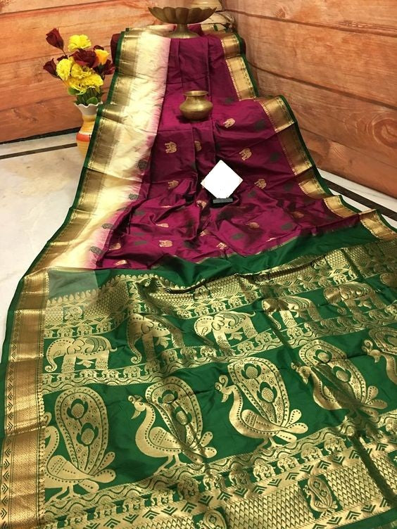 Awesome Bollywood Designer Banarasi Silk  Saree BS7003