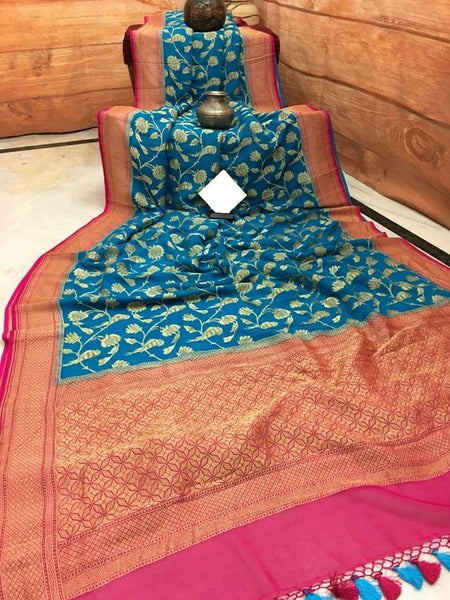 Awesome Bollywood Designer Banarasi Silk  Saree BS7016