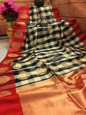 Awesome Bollywood Designer  Kanchipuram Silk Saree KC6014