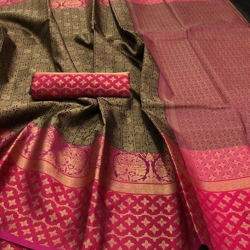 Awesome New Bollywood Designer  Kanchipuram Silk Saree KC6067