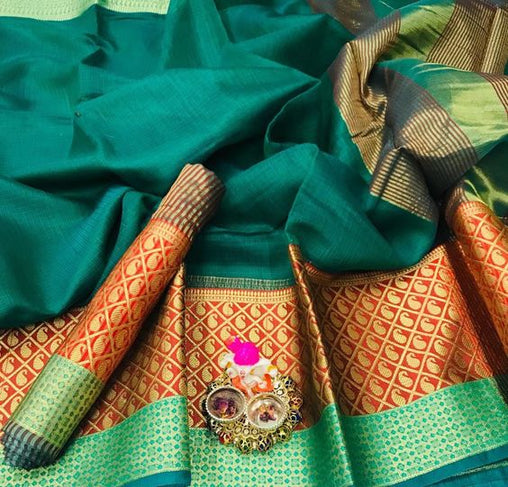 Awesome New Bollywood Designer  Kanchipuram Silk Saree KC6095