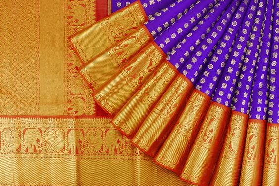 New Latest Collection of Designer  Kanchipuram Silk Saree KC6166