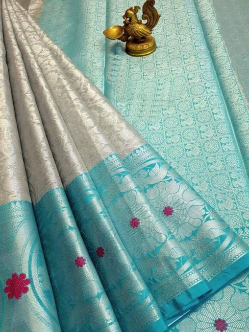 New Latest Collection of Designer  Kanchipuram Silk Saree KC6168