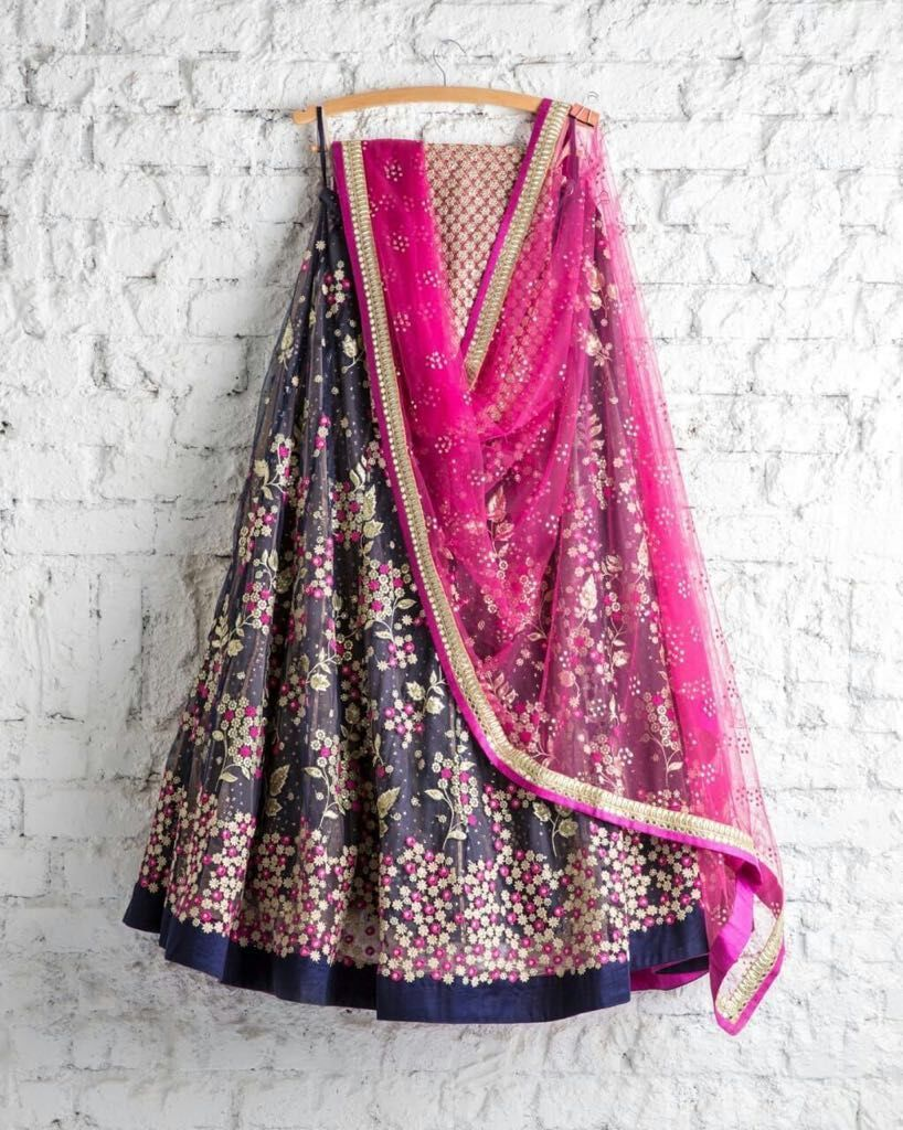Beautiful Multi Color Embroidered Semi-stitched Party Wear Lehenga Choli MDL1002