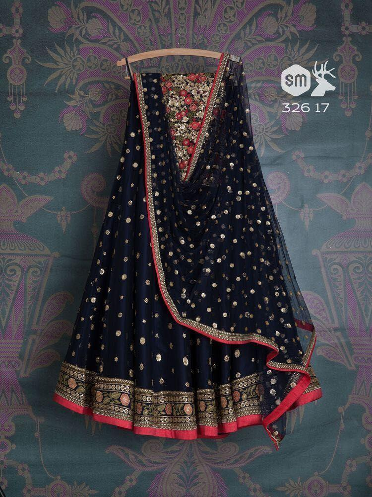 Designer Navy Blue Colored Party Wear Embroidered Net Lahenga MDL1010