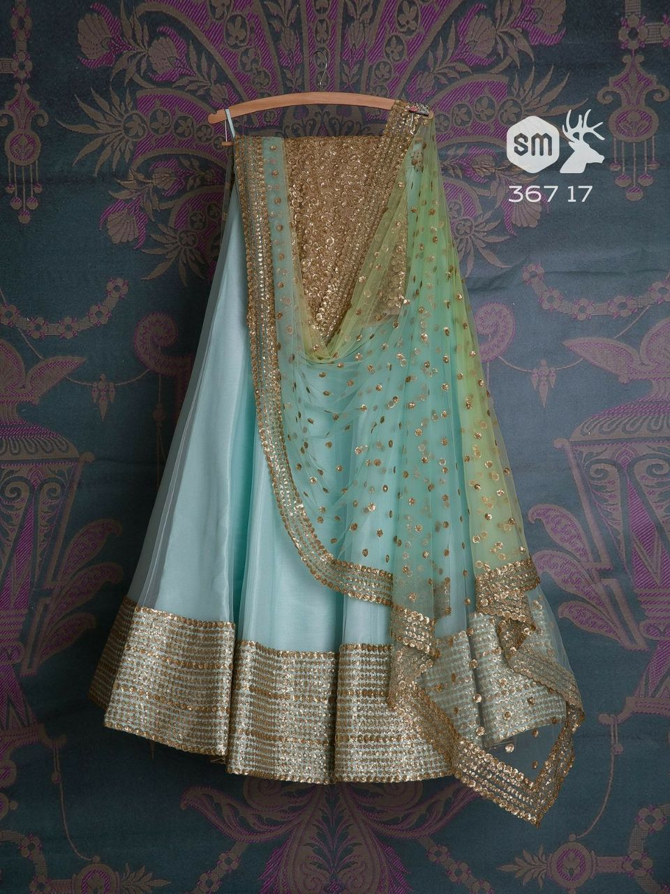 Awsome Sky Blue Color Embroidered Semi-stitched Party Wear Lehenga Choli MDL1015