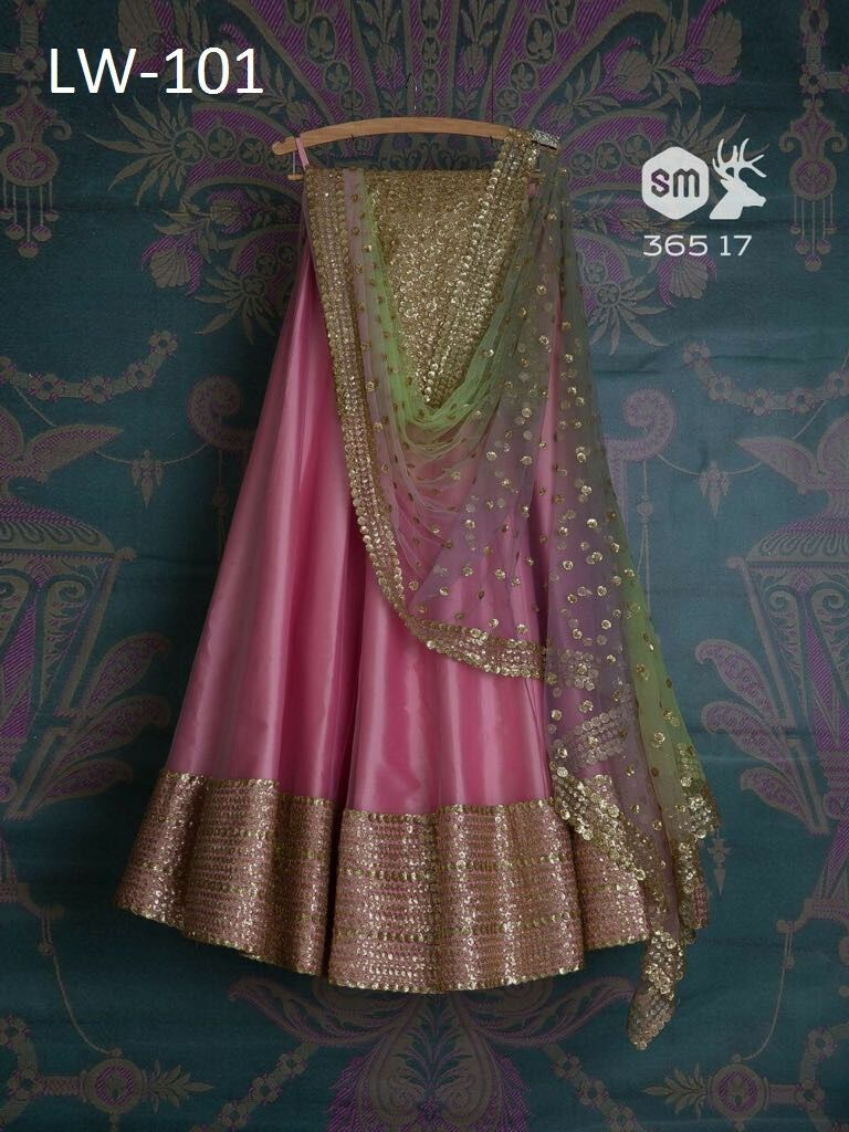 Heavy Pink Color Embroidered Semi-stitched Party Wear Lehenga Choli MDL1020