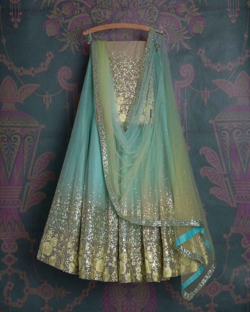 Fancy Sky Blue Color Embroidered Semi-stitched Lehenga Choli MDL1022